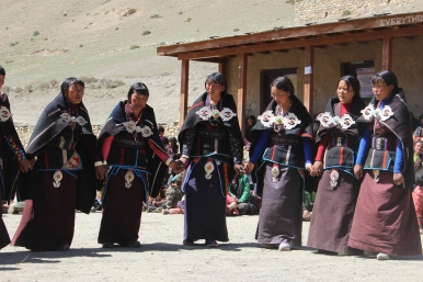 Local women dancing and singing during the post-election ceremony for the successful formation of the local goverment in Dolpo Buddha Rural Municipality.
