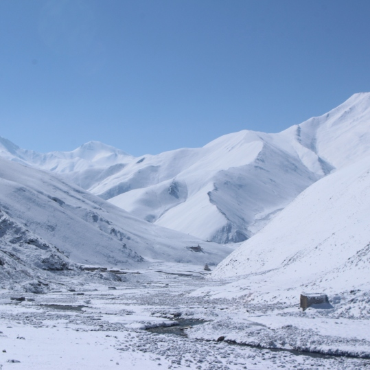 Dho valley covered in snow in April.